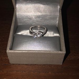 White sapphire and silver ring from zales